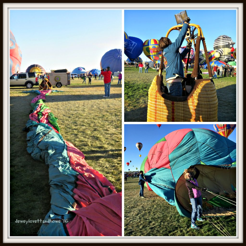 Stretching out the balloon envelope; installing the burners; blowing up the balloon (and me) with a huge fan!